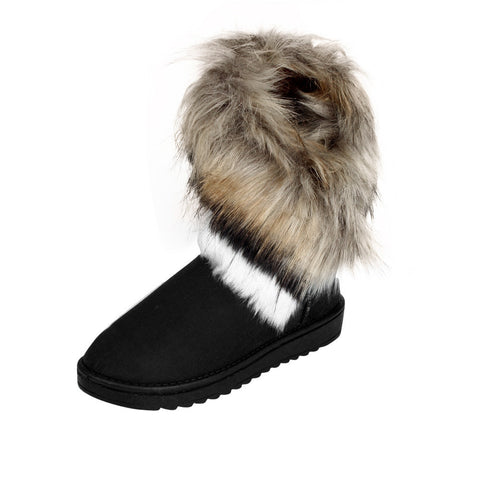 Fashion Women Boots Flat Ankle Fur Lined Winter Warm Snow Shoes Black / 36