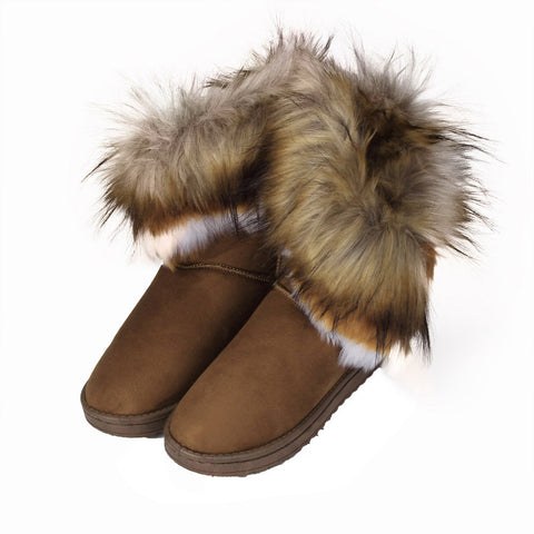 Fashion Women Boots Flat Ankle Fur Lined Winter Warm Snow Shoes Brown / 37