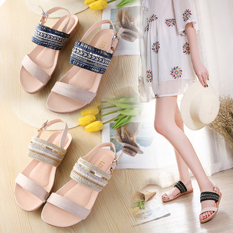 Women Bohemia Slippers Flip Flops Flat Sandals Toe Beach Gladiator Ankle Shoes - Fashion Shopping 247