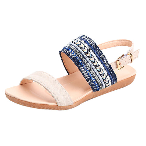 Women Bohemia Slippers Flip Flops Flat Sandals Toe Beach Gladiator Ankle Shoes Blue / 42