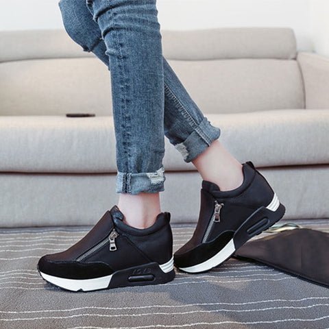 Women Fashion Sneakers Sports Running Hiking Thick Bottom Platform Shoes Black / 35