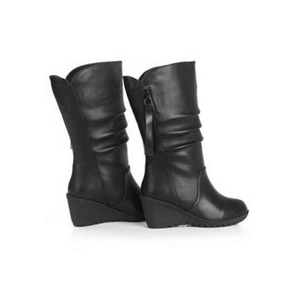 Women Autumn Winter Warm Shoes Ladies Wedges High Heel Ankle Boots Zipper Boots - Fashion Shopping 247