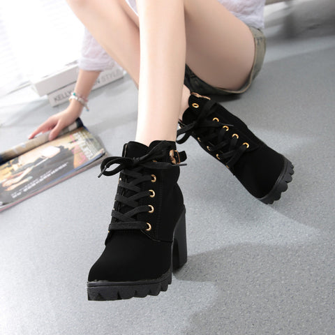 Womens Fashion High Heel Lace Up Ankle Boots Ladies Buckle Platform Shoes - Fashion Shopping 247