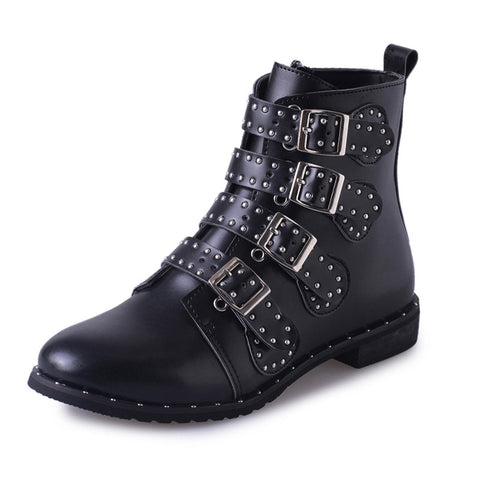 Women Leather Rivet Boots Buckle Fashion Martin Leather Ankle Booties Shoes - Fashion Shopping 247