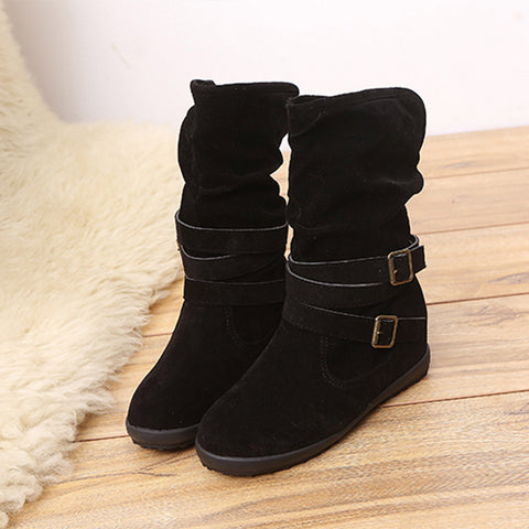 Ladies Womens Low Wedge Buckle Biker Ankle Trim Flat Ankle Boots Shoes - Fashion Shopping 247