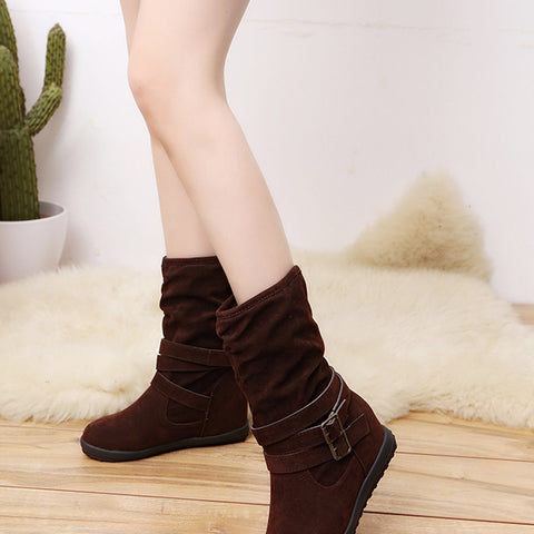 Ladies Womens Low Wedge Buckle Biker Ankle Trim Flat Boots Shoes Brown / 36