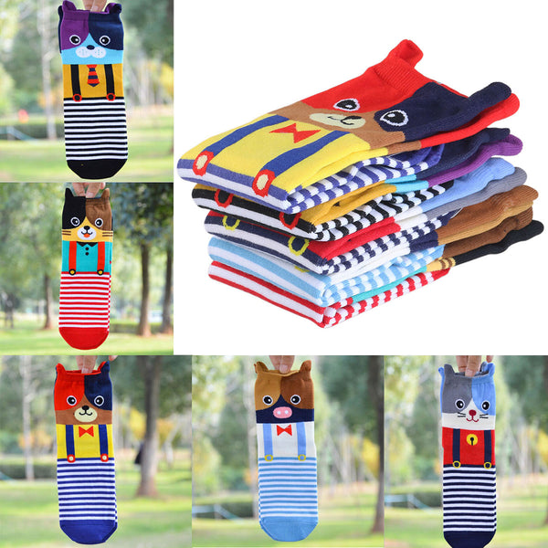 5 Pairs of Cartoon Animal Cotton Tube Socks (5 Animals) - Fashion Shopping 247