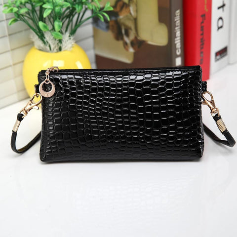 Women Crocodile Leather Messenger Crossbody Clutch Shoulder Handbag - Fashion Shopping 247