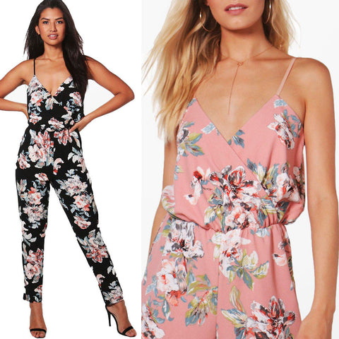 Women Jumpsuit V-Neck Floral Printed Sleeveless Party Trousers Bodysuit - Fashion Shopping 247