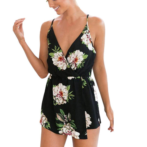 Sexy Women V-Neck Floral Print Sleeveless Playsuit Party Beach Jumpsuit Romper