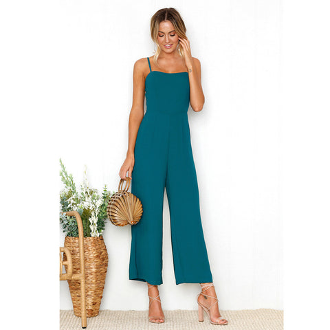 Womens Straps Zipper Holiday Playsuit Ladies Long Beach Jumpsuit Green / L