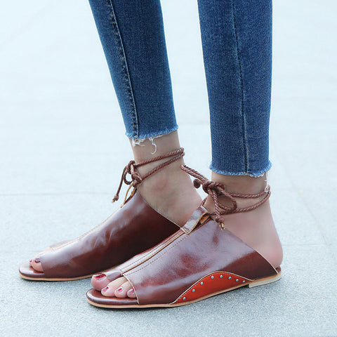 Women Flat-Bottomed Roman Sandals Open Ankle Flat Straps Platform Wedges Shoes Brown / 36