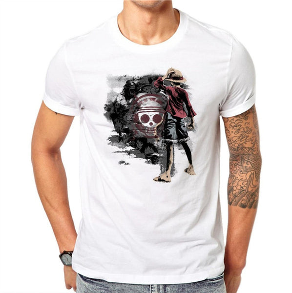 100% Cotton One Piece T Shirt Men T-shirt Funny Luffy T Shirts White O-neck Skull Printed Tshirt Clothing Mens Anime Tee Shirt GH62 - Fashion Shopping 247