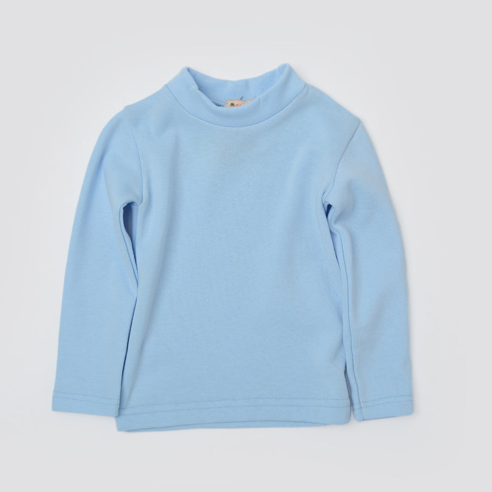 Carrot Half Collar Long Sleeve Basic Tee Blue