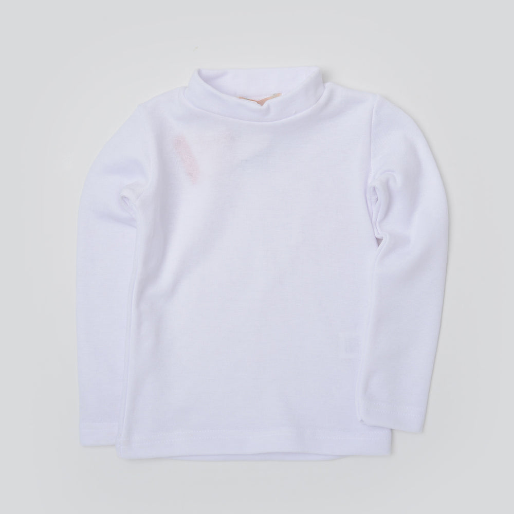 Carrot Half Collar Long Sleeve Basic Tee White