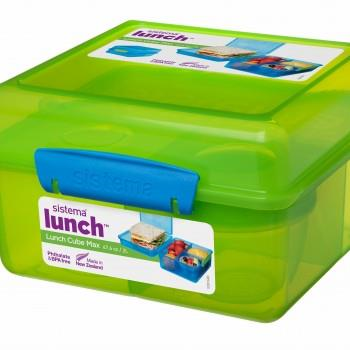 Green Lunch Cube Max with Yogurt Pot 2L