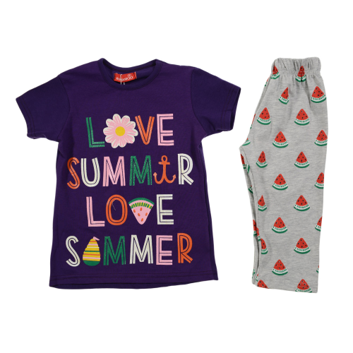 Kangaroo Love Summer Pajama Purple