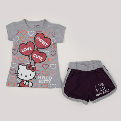 Kangaroo Kitty Love Pajama Grey