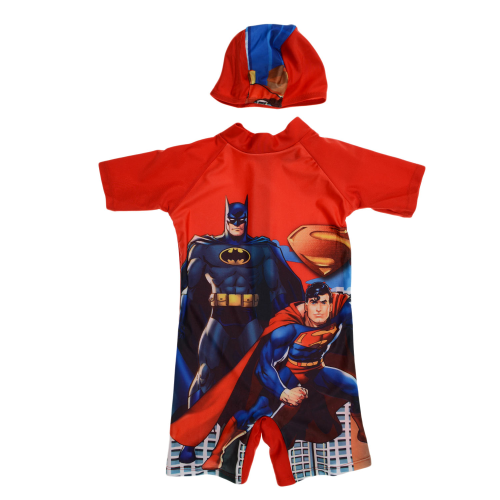 Disney Superman And Batman Swimsuit Red