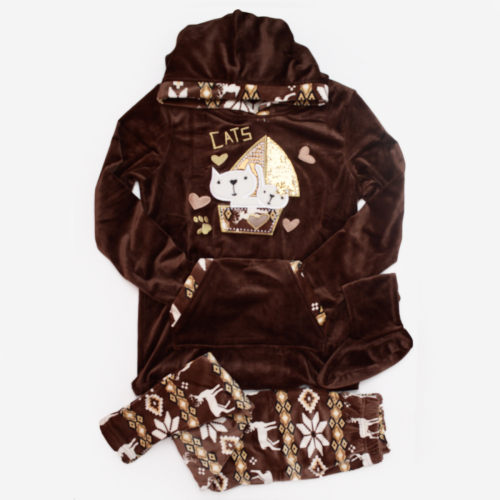Cats Winter Pajama Dark Brown