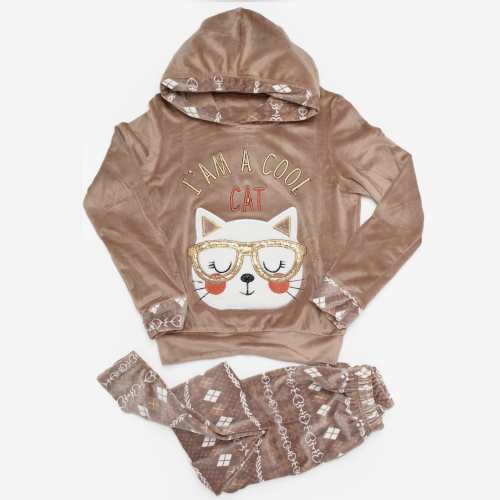 Cool Cat Winter Pajama Brown