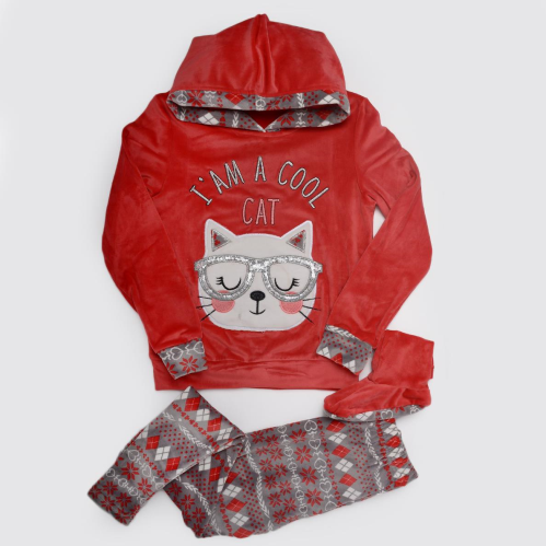 Cool Cat Winter Pajama Red