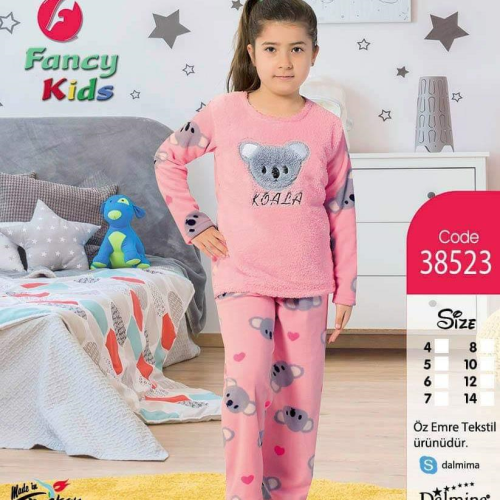 Fancy Kids Bear Pajama Pink