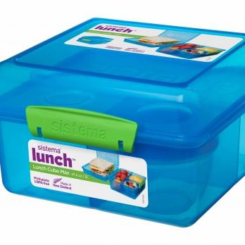 Blue Lunch Cube Max with Yogurt Pot 2L