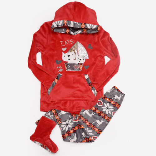 Cats Winter Pajama Red