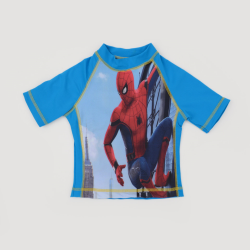 I Wear Spider Man Shirt Swimsuit Light Blue