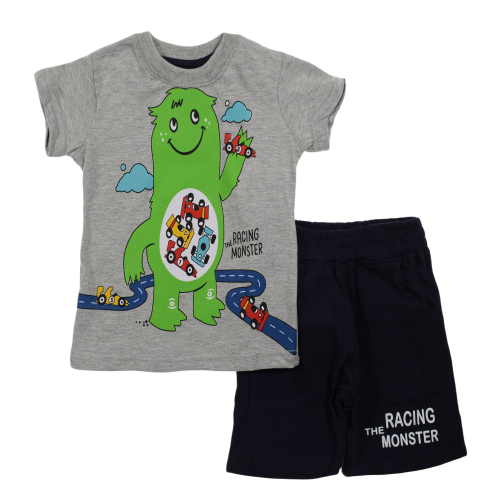 Kangaroo Racing Monster Pajama Gray