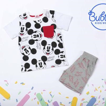 Bubbles Mickey Pajama White