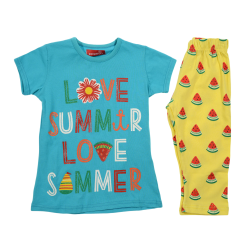 Kangaroo Love Summer Pajama Baby Blue
