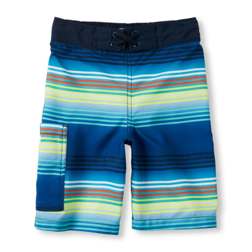 Striped  Swimsuit Short Blue