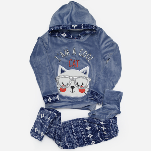 Cool Cat Winter Pajama Blue