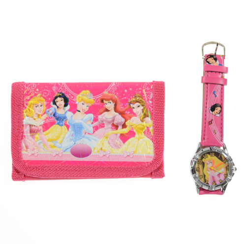 Princess Childrens Watch and Wallet/Purse Set Fushia
