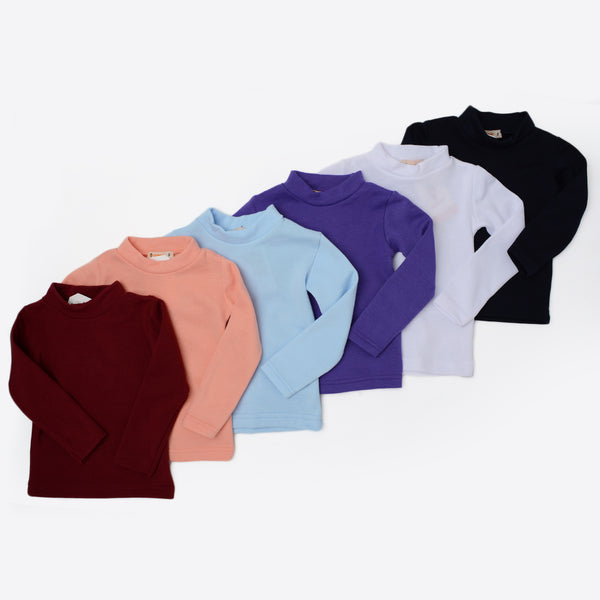 Carrot Half Collar Long Sleeve Basic Tee Simon
