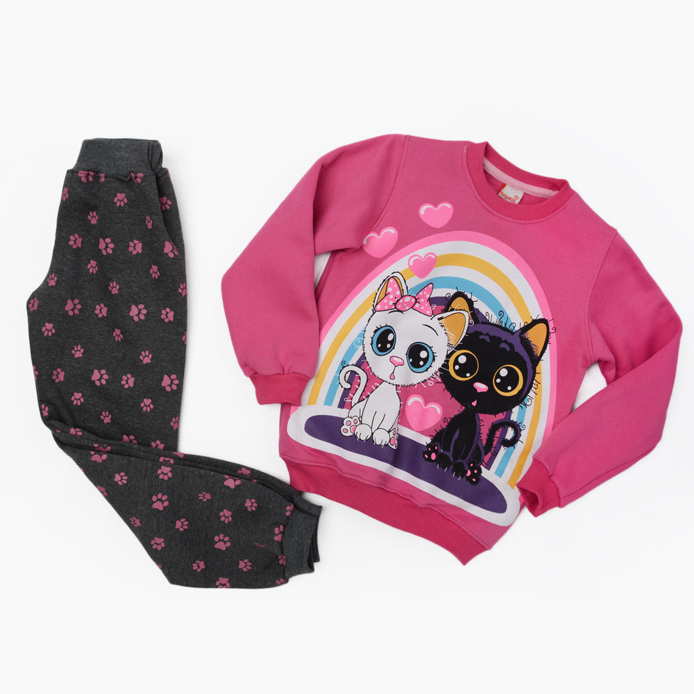 Kangaroo Black And White Winter Pajama Fushia