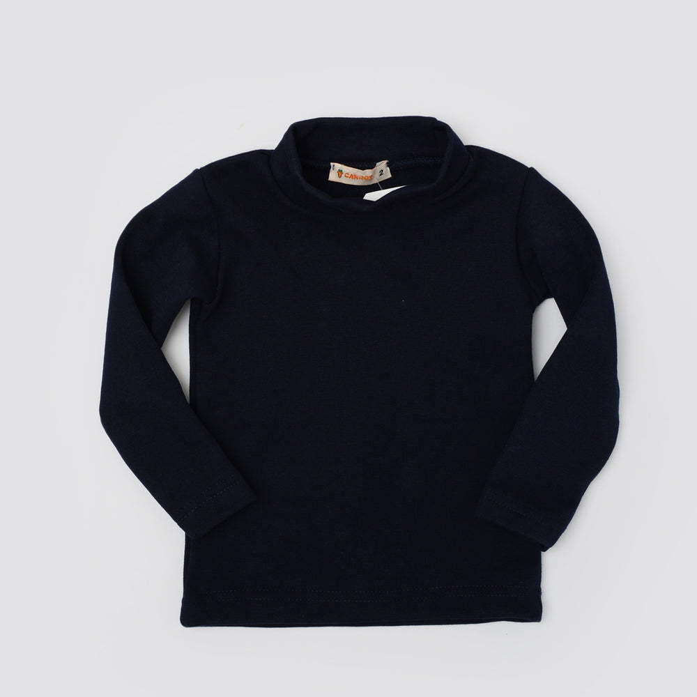 Carrot Half Collar Long Sleeve Basic Tee Blue Black