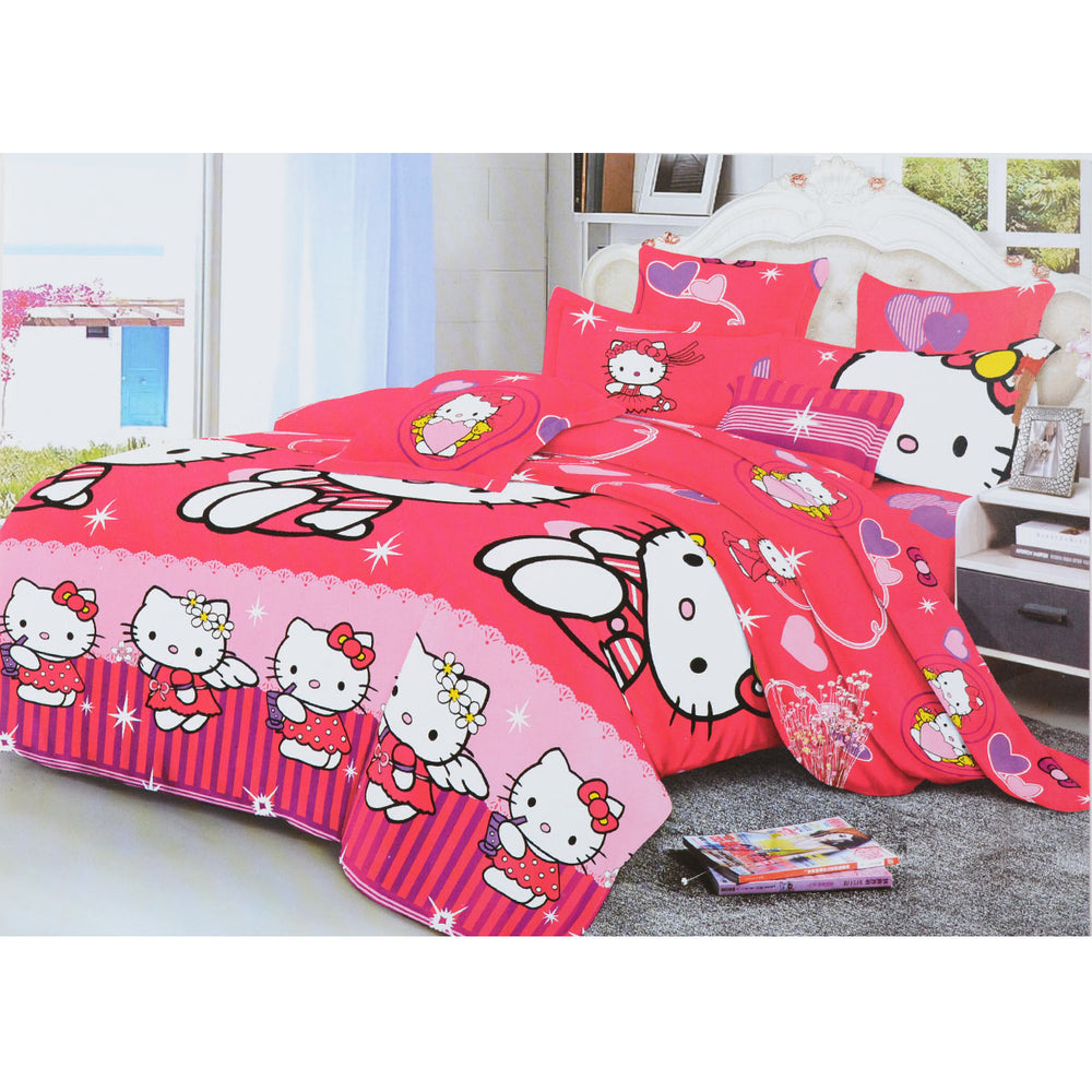Hello Kitty 6 Pieces Bed sheet With Pillowcase Fushia