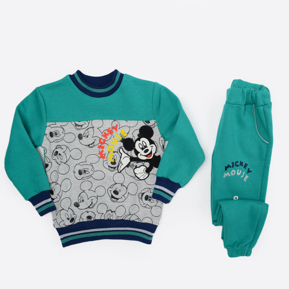 Mickey Kid's Winter Pajama Green