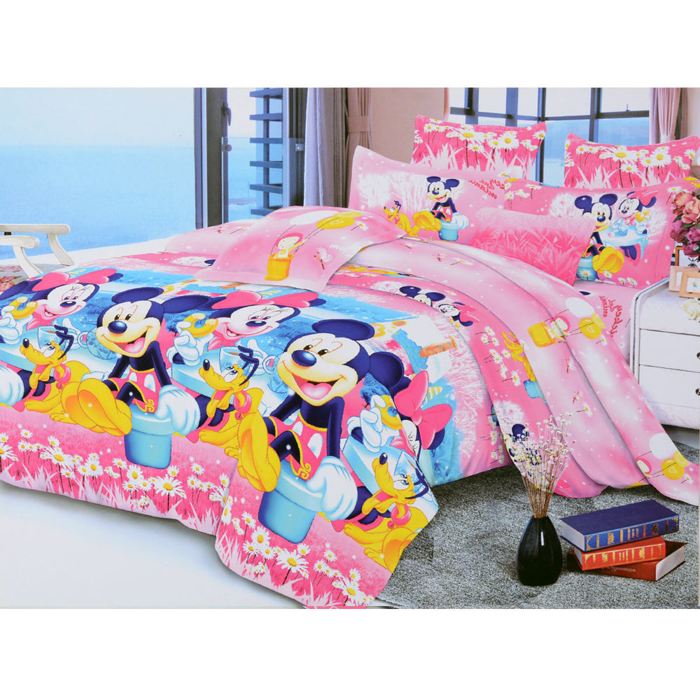 Mickey & Friends 6 Pieces Bed sheet With Pillowcase Pink