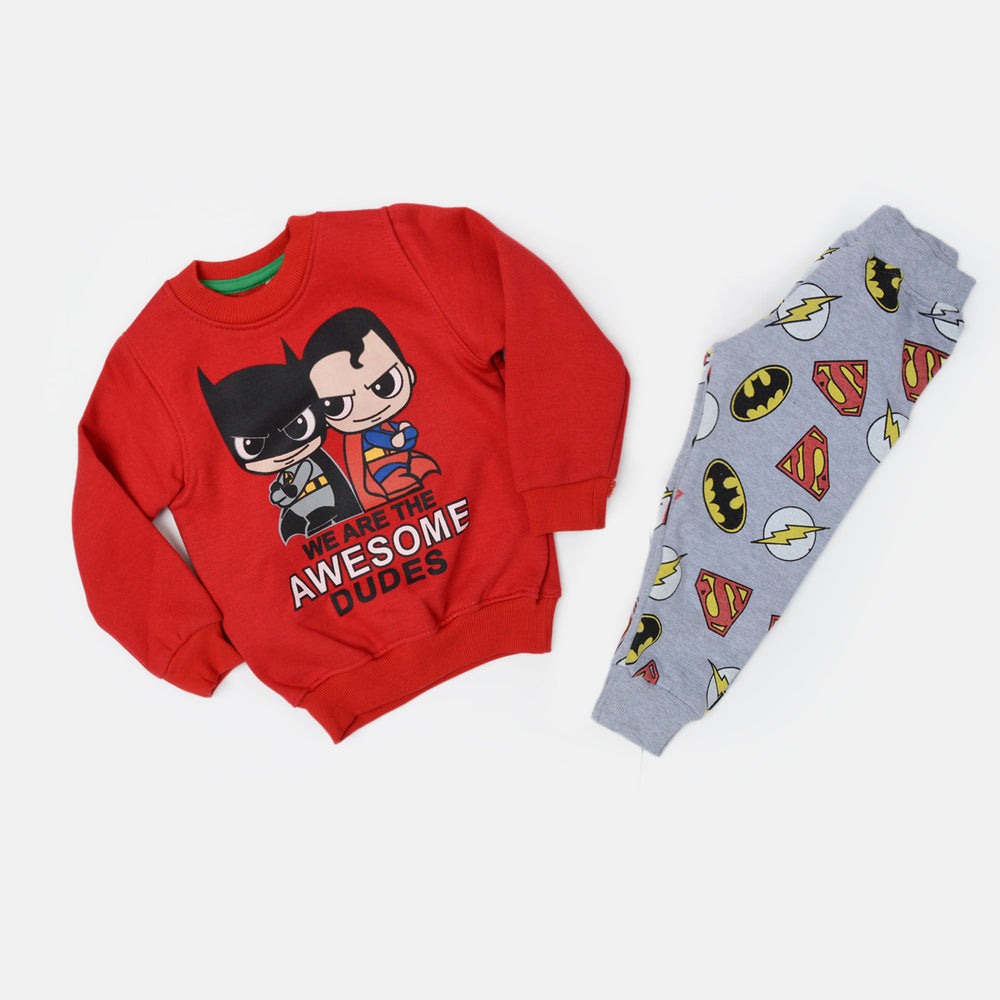 Kangaroo Super Man And Batman Kids Pajama Red