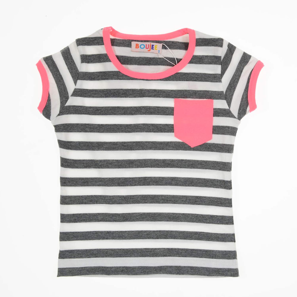 Boujee Classic Striped T-Shirt Dark Grey