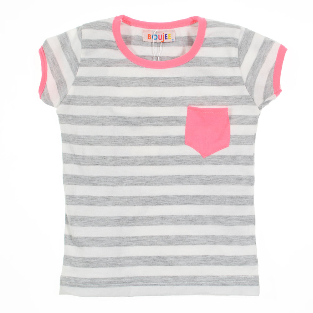 Boujee Classic Striped T-Shirt Grey