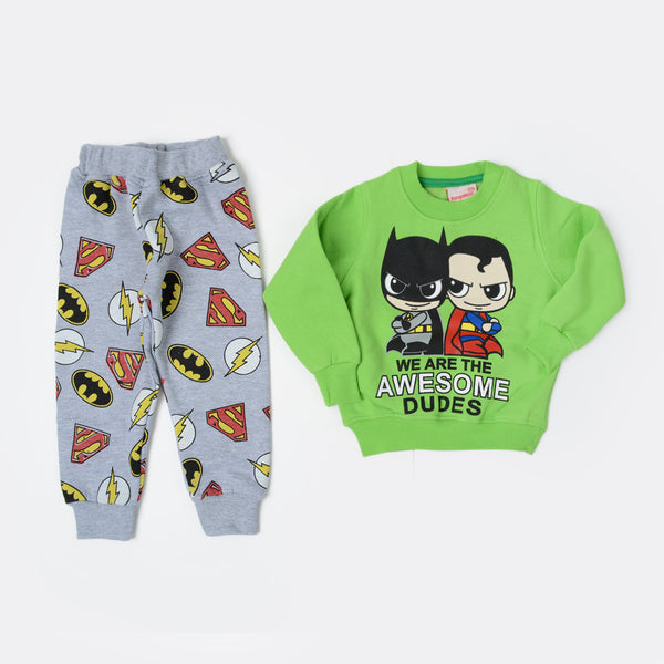 Kangaroo Superman And Batman Kids Pajama Green