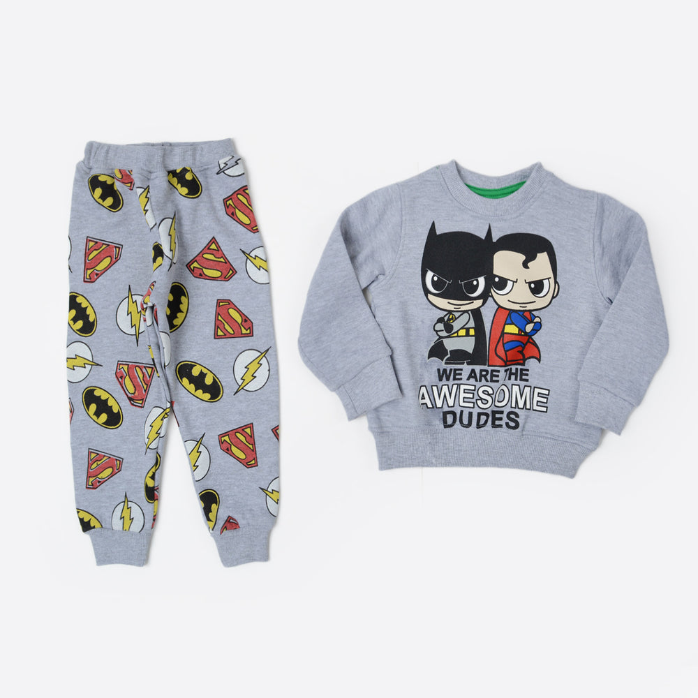 Kangaroo Superman And Batman Kids Pajama Gray