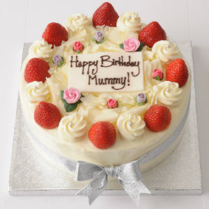 03: Strawberry Cake with Icing Flowers • Round