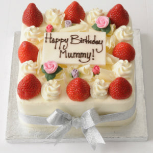 04: Strawberry Cake with Icing Flowers • Square