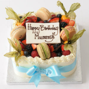 08: Strawberry Cake with Berries and Macaroons • Square